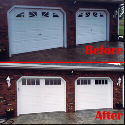 Before and After work preformed by Fehrmann Garage Doors, Inc.
